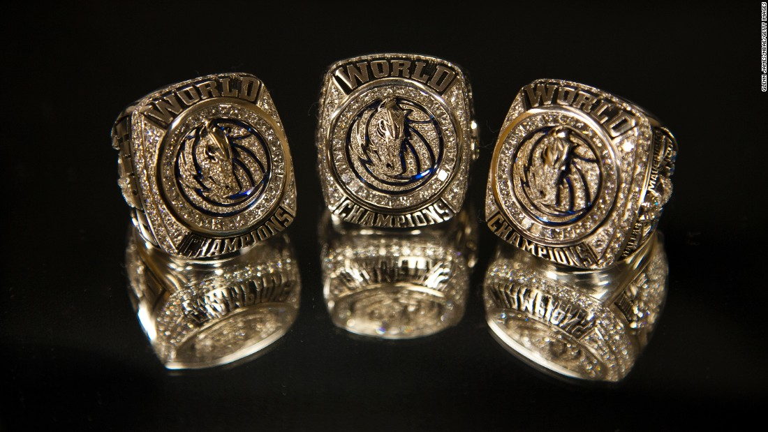 The Dallas Mavericks won all the marbles in 2011. Here are three of their championship rings from that year.