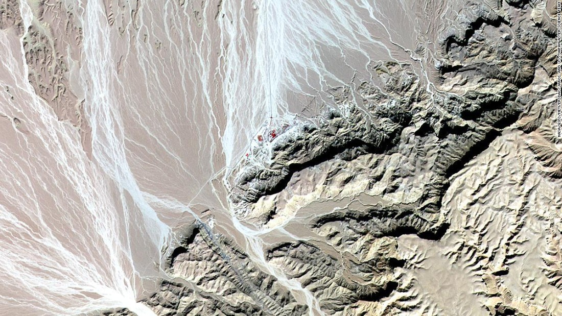 The world's oldest Christian monastery, in the remote mountainous area of eastern Egypt, can be seen in this image taken in 2010 by NASA Terra spacecraft.