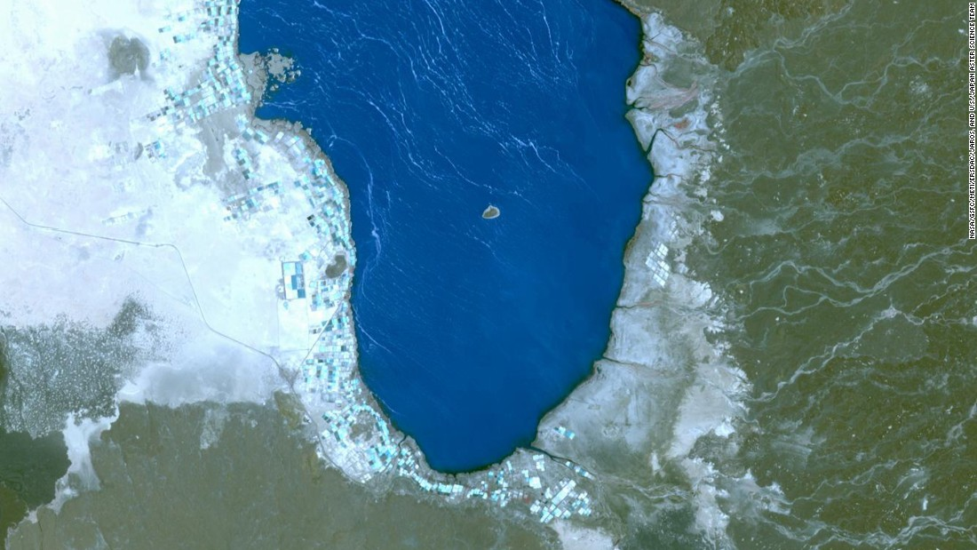 This hypersaline lake, called  Lake Afrera, can be seen in this image taken by the NASA Terra spacecraft.