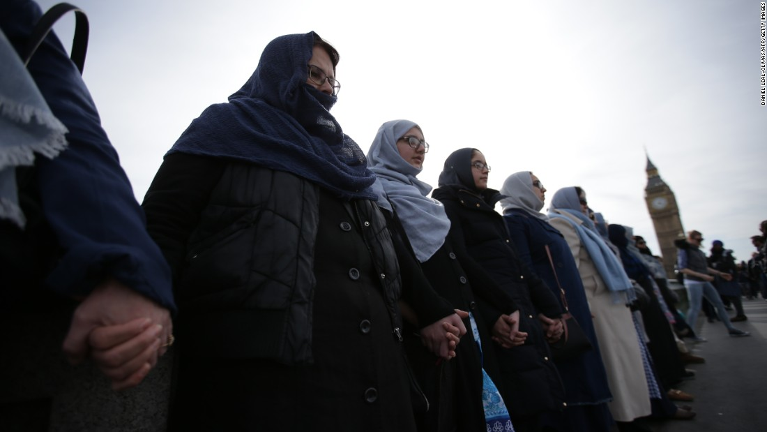 "Muslim women <a href=""http://www.cnn.com/2017/03/27/europe/london-attack/"" target=""_blank"">link arms along London's Westminster Bridge</a> on Sunday, March 26, showing solidarity for those victimized by a recent terror attack there. Many of the women wore blue to symbolize peace. Four days earlier, lone attacker Khalid Masood rammed a car into pedestrians on the bridge, killing several people and leaving dozens injured. He crashed the vehicle before later stabbing an on-duty police officer outside Parliament. Masood was shot dead by police at the scene."