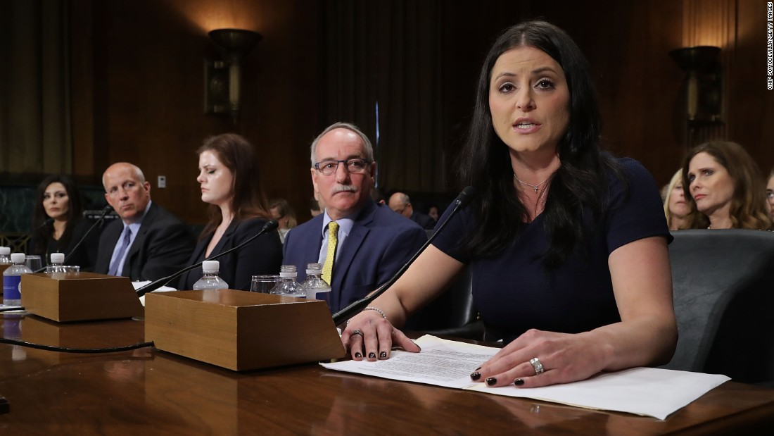 "Former Olympic gold medalist Dominique Moceanu, right, testifies before the Senate Judiciary Committee on Tuesday, March 28. USA Gymnastics is a defendant <a href=""http://www.cnn.com/2017/03/16/health/usa-gymnastics-ceo-resigns/"" target=""_blank"">in a federal lawsuit</a> that accuses Dr. Larry Nassar, a former volunteer physician, of sexually assaulting 18 women during physical examinations. The lawsuit alleges that USA Gymnastics was negligent in allowing the abuse to occur. When the lawsuit was filed, USA Gymnastics said it was appalled by the allegations and that it notified the FBI as soon as it learned of athletes' concerns. Nassar has pleaded not guilty to criminal charges. Moceanu told the committee she wasn't abused by Nassar, but ""everybody around us knew that abuses were going on."""