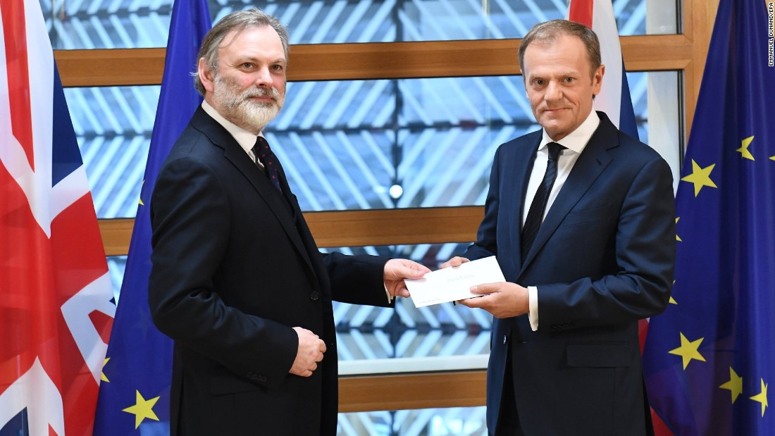 "Tim Barrow, the British ambassador to the European Union, delivers an official notice to European Council President Donald Tusk, right, as <a href=""http://www.cnn.com/2017/03/29/europe/article-50-brexit-theresa-may-eu/index.html"" target=""_blank"">the United Kingdom begins the formal process of leaving the EU</a> on Wednesday, March 29."