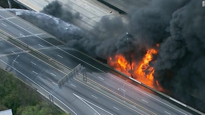 Officers respond as bridge burst into flames