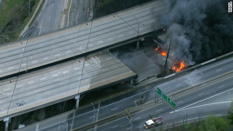 A section of Interstate 85 collapsed March 30 in Atlanta after a massive fire.