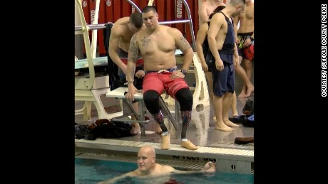 Suffolk County New York police officer Matias Ferreira at a swimming competition.