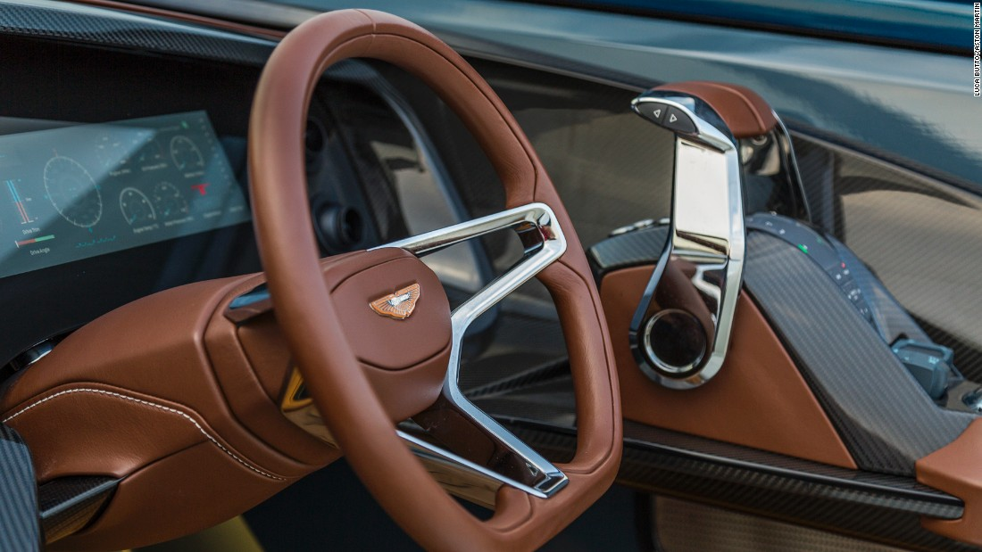 The AM37 yacht's steering wheel wouldn't look out of place in one of Aston's own luxury cars.