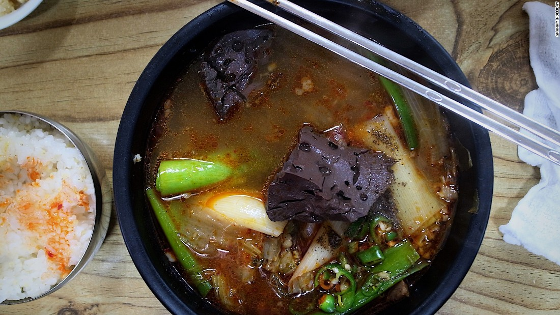 "<strong>Seonji gukbap, Andong: </strong>Diners flock to Okya restaurant to sample the seonji gukbap -- commonly described as a ""hangover stew with clotted cow's blood."""