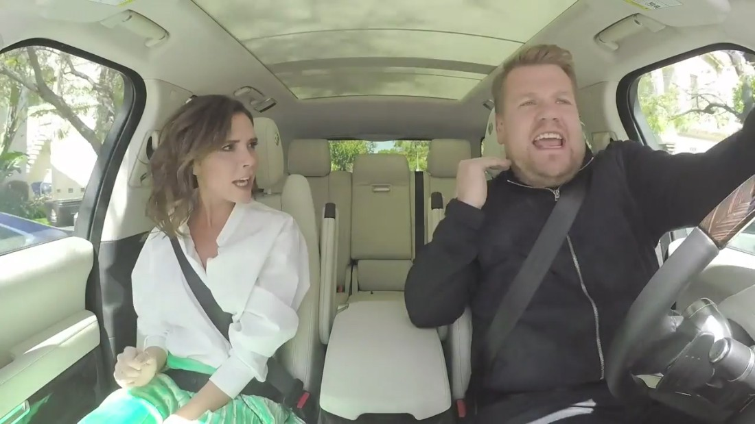 39 carpool karaoke 39 with victoria beckham cnn video for Car pool karaoke show
