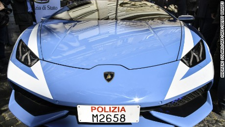 "A picture shows the front of the new police's car Lamborghini ""Huracan"" during a press conference at the Interior Ministry ""Viminale"" in Rome, on March 30, 2017.  / AFP PHOTO / Andreas SOLARO        (Photo credit should read ANDREAS SOLARO/AFP/Getty Images)"