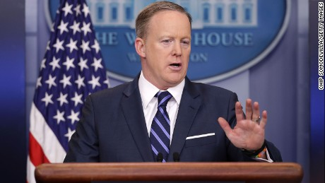 White House Press Secretary Sean Spicer conducts the daily press briefing at the White House March 31, 2017 in Washington, DC. Spicer fielded questions from reporters about Syria, allegations of Russia working with the Trump campaign and a variety of other subjects.