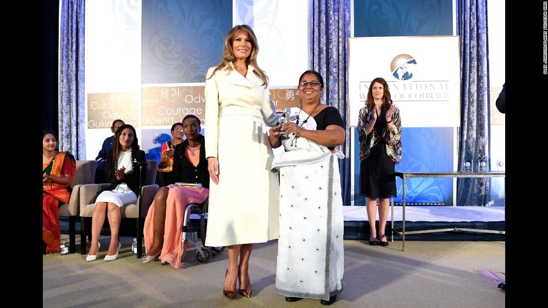"First lady Melania Trump poses with Sandya Eknelygoda on Wednesday, March 29, after Eknelygoda received an award at the Secretary of State's International Women of Courage Awards. <a href=""http://www.cnn.com/2017/03/29/politics/melania-trump-speech-state-award/"" target=""_blank"">The awards </a>honor women across the globe who have overcome injustice and gone on to transform their societies, often in the face of personal danger. Eknelygoda is a human rights activist in Sri Lanka."