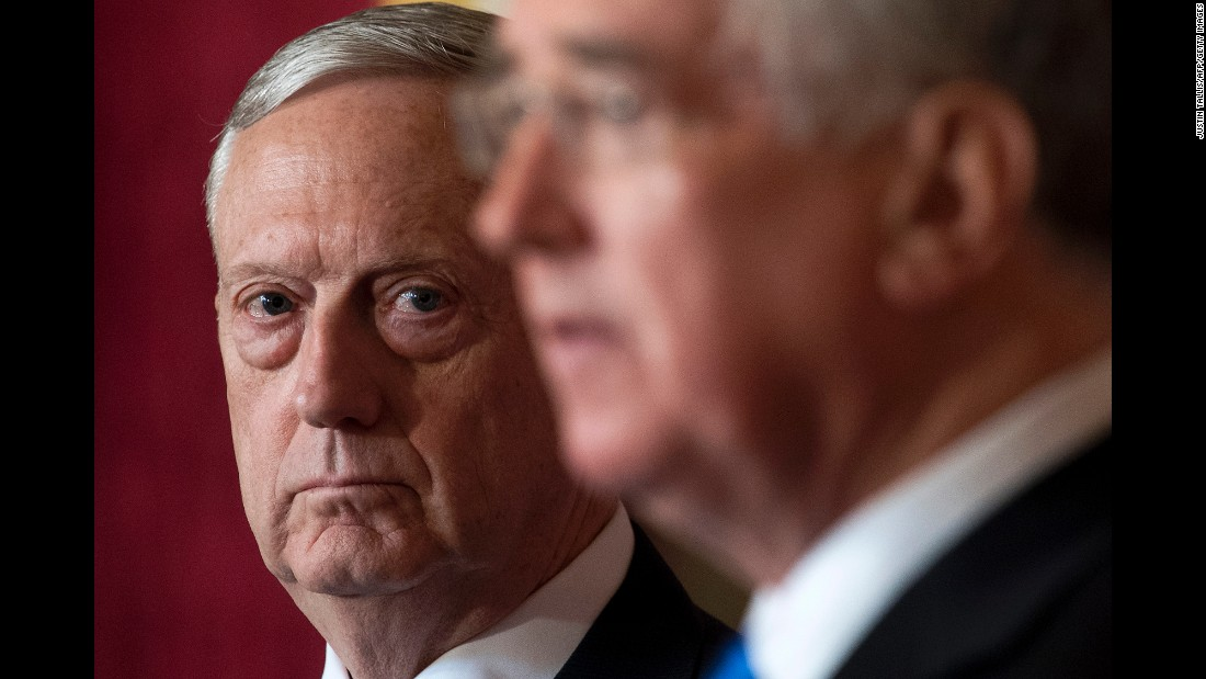 US Defense Secretary James Mattis, left, attends a news conference in London with his British counterpart, Michael Fallon, on Friday, March 31.
