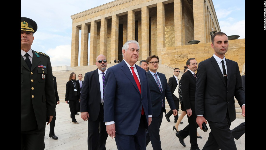 US Secretary of State Rex Tillerson, center, leaves a wreath-laying ceremony at Anitkabir, the mausoleum of Turkey's modern founder in Ankara, Turkey, on Thursday, March 30. Tillerson met Turkish leaders a day after Ankara announced the end of its military offensive in Syria.