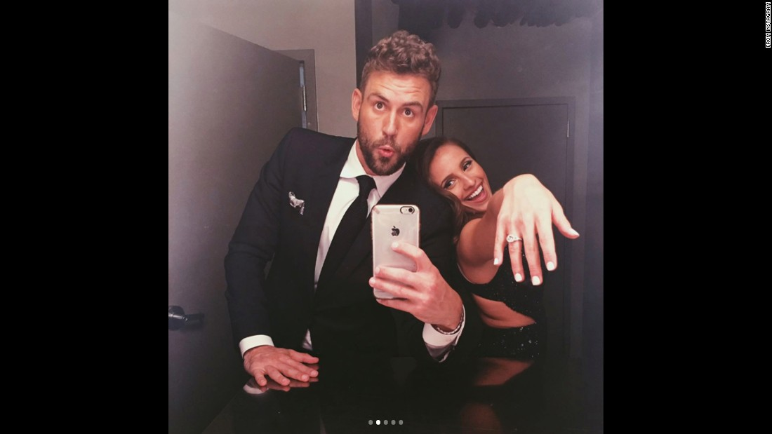 "Nick Viall <a href=""https://www.instagram.com/p/BRmlWegBMd-/"" target=""_blank"">takes a selfie</a> Monday, March 13, with Vanessa Grimaldi, who he chose to propose to at the end of the reality show ""The Bachelor"" this season. They were posing backstage at the late-night show ""Jimmy Kimmel Live!"""