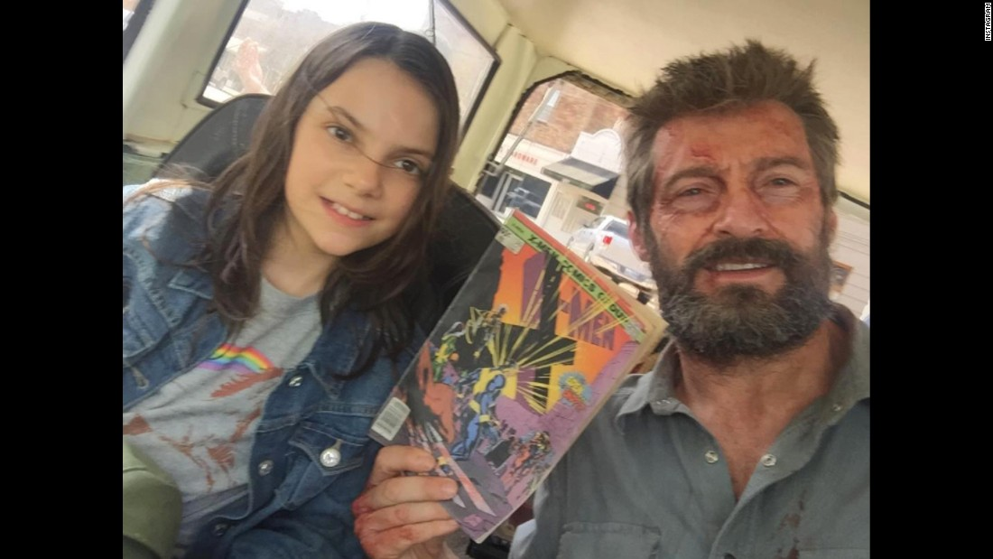 "Actor Hugh Jackman holds up an X-Men comic in this <a href=""https://www.instagram.com/p/BReVOuFjCBN/"" target=""_blank"">selfie he posted</a> with his ""Logan"" co-star Dafne Keen on Friday, March 10."