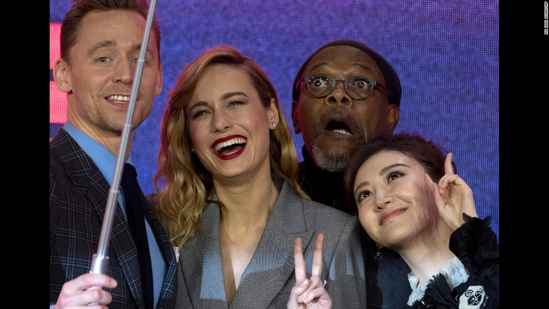 "The cast of the movie ""Kong: Skull Island"" pose for a selfie during a press conference in Beijing on Thursday, March 16. From left are Tom Hiddleston, Brie Larson, Samuel L. Jackson and Jing Tian."