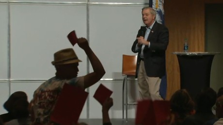 Lindsey Graham town hall Obamacare chant fix it sot_00000000