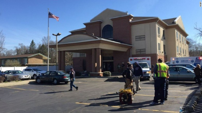 A carbon monoxide leak is believed to have killed one person at the Quality Inn & Suites in Niles, Michigan, on Saturday. Thirteen others were hospitalized.