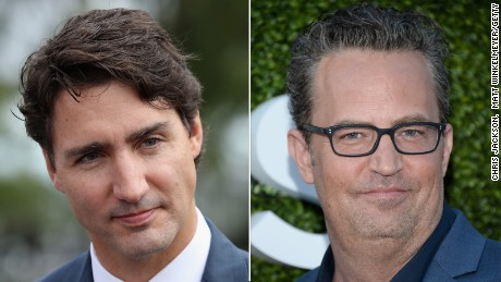 Canadian Prime Minister Justin Trudeau and actor Matthew Perry.