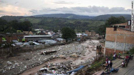 General view of damage caused by mudslides in Mocoa, Putumayo department, southern Colombia on April 1, 2017.  Massive mudslides left more than 200 dead and hundreds of injured and disappeared on Saturday in southern Colombia, after heavy rains that have affected the Andean region, especially Peru and Ecuador. / AFP PHOTO / ERNESTO CHE M JONES        (Photo credit should read ERNESTO CHE M JONES/AFP/Getty Images)