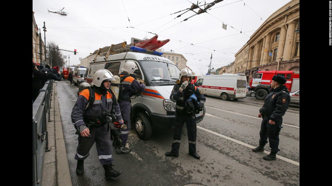 Emergency workers are seen outside the entrance to the Tekhnologichesky Institut station.
