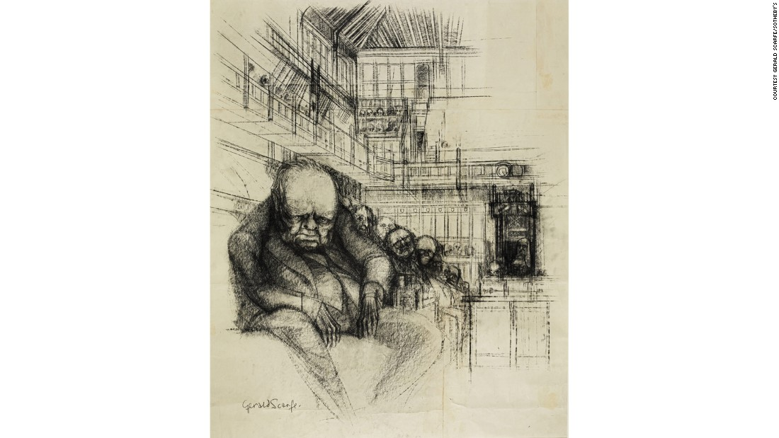 One of the sale highlights is an illustration of Winston Churchill from his final visit to the House of Commons in 1964.