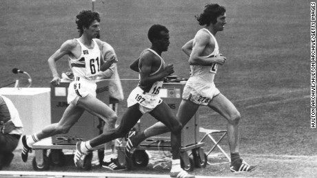 Bedford (left) competes in the 10,000m at the 1972 Munich Olympics