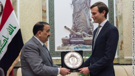Jared Kushner, Senior Advisor to President Donald J. Trump, receives a gift from Iraqi Minister of Defense Erfan al-Hiyali at the Ministry of Defense in Baghdad, Iraq, April 3, 2017.