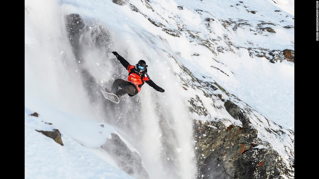 Snowboarder Christoffer Granbom competes in the Verbier Xtreme event in Switzerland on Monday, April 3.