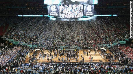 GLENDALE, AZ - APRIL 03: Confetti falls as the North Carolina Tar Heels celebrate after defeating the Gonzaga Bulldogs during the 2017 NCAA Men's Final Four National Championship game at University of Phoenix Stadium on April 3, 2017 in Glendale, Arizona. The Tar Heels defeated the Bulldogs 71-65.  (Photo by Christian Petersen/Getty Images)
