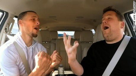 NBA star Stephen Curry battles James Corden