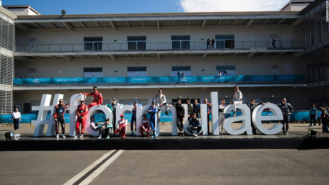 "The Formula E drivers pose at the Autodromo Hermanos Rodriguez before the Mexico City ePrix. <br /><br />""Formula E has a great momentum right now and I am sure it has a great future ahead,"" di Grassi says.<br />"