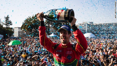 MEXICO CITY, MEXICO - APRIL 1: In this handout image supplied by Formula E, Lucas Di Grassi (BRA), ABT Schaeffler Audi Sport, Spark-Abt Sportsline, ABT Schaeffler FE02 celebrates during the FIA Formula E Championship Mexico City ePrix on April 1, 2017 in Mexico City, Mexico. (Photo by LAT Images / Formula E via Getty Images)