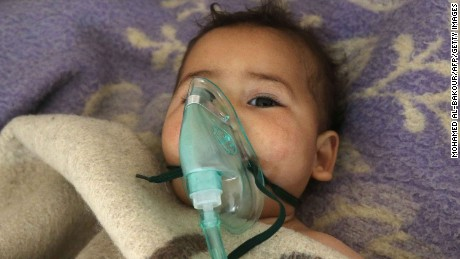 A Syrian child receives treatment following a suspected toxic gas attack in Khan Sheikhun, a rebel-held town in the northwestern Syrian Idlib province, on April 4, 2017.