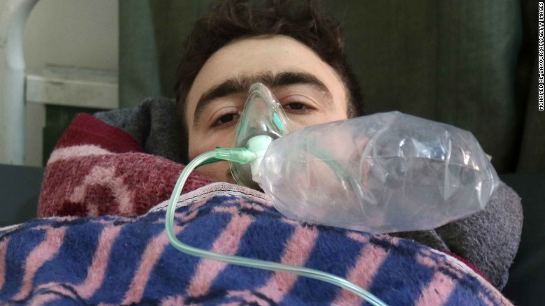 A Syrian man receives treatment following the attack in rebel-held Khan Sheikhoun on April 4.