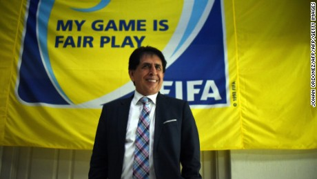 The President of the Football Federation of Guatemala Bryan Jimenez gestures while speaking with journalists at the Goal Project in Guatemala City on December 3, 2015. An international warrant was issued for Jimenez by the US on December 3, 2015. Several senior FIFA officials from the past or present were among 16 more people indicted by US authorities on Thursday as the corruption scandal rocking football's governing body widened. AFP PHOTO/Johan ORDONEZ / AFP / JOHAN ORDONEZ        (Photo credit should read JOHAN ORDONEZ/AFP/Getty Images)