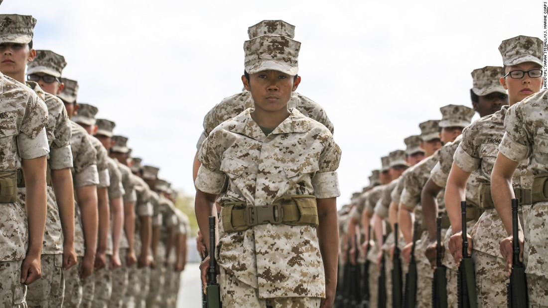 Marine Corps recruits wait for the next command during a final drill evaluation in Parris Island, South Carolina, on Wednesday, March 22.