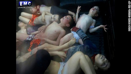 This photo, provided by the Idlib Media Center, shows several children who died in the targeted strikes.