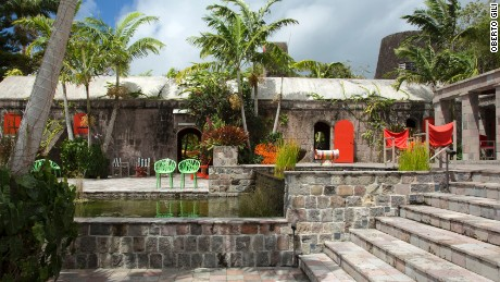 The charming Golden Rock Inn sits on the slopes of Nevis Peak.