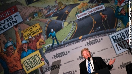 US President Donald Trump speaks during the 2017 North America's Building Trades Unions National Legislative Conference at the Washington Hilton on April 4, 2017 in Washington, DC.