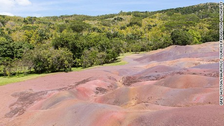Chamarel's colored sands are caused by lava turning into clay minerals.