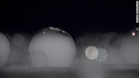 A close-up of the mist-filled bubbles