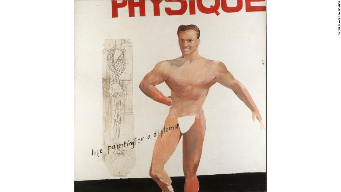 """I was threatened with not getting a diploma at all at The Royal College because they said I hadn't done enough life-painting. So I copied that muscle man out of a magazine,"" Hockney said of this piece in <a href=""http://www.sothebys.com/en/auctions/ecatalogue/2007/contemporary-art-evening-auction-l07024/lot.29.html"" target=""_blank"">1962</a>. <br />"