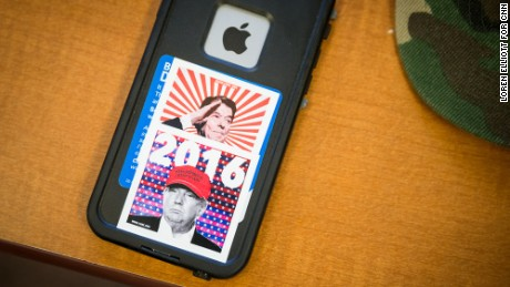 Stickers of famous Republicans make for stylish phone accents among young Republicans.