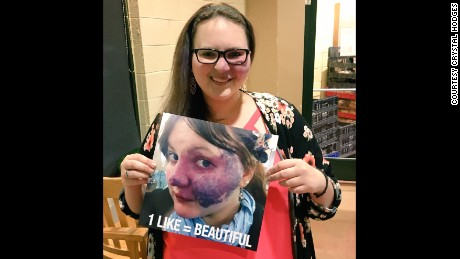 Crystal Hodges holds a photo of hers that was turned into a meme without her permission. She said she has turned a difficult experience into an opportunity to be an advocate.