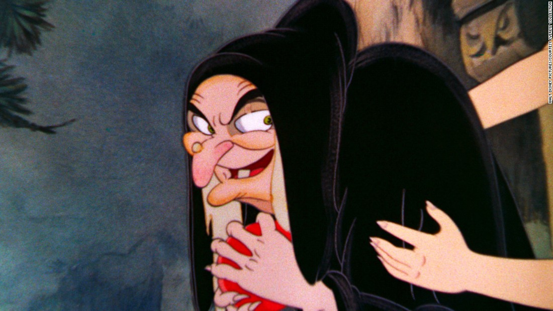 "The Queen in ""Snow White and the Seven Dwarfs"" becomes jealous when her ""mirror, mirror on the wall"" informs her that she is no longer the fairest of them all. In her elderly form, she offers a poisoned apple to the film's heroine."