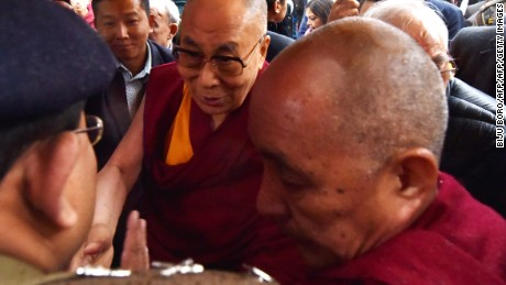 The Dalai Lama meets Buddhist followers at the Thubchog Gatsel Ling Monastery in Bomdila in India's northeastern state of Arunachal Pradesh state on April 4, 2017.