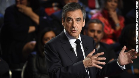 French presidential candidate for the right-wing Republican party Francois Fillon during a TV debate.