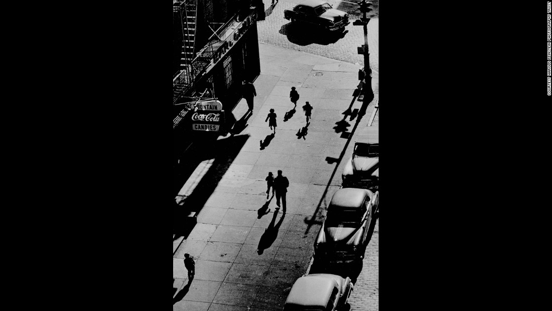 "People are seen from an elevated train platform in New York in 1950. Bigaignon met Feinstein a few years ago. When he started his own gallery, he worked with Feinstein's widow, Judith, to get an exhibition started. ""Every photograph I had in my hand was like a masterpiece to me,"" he said."