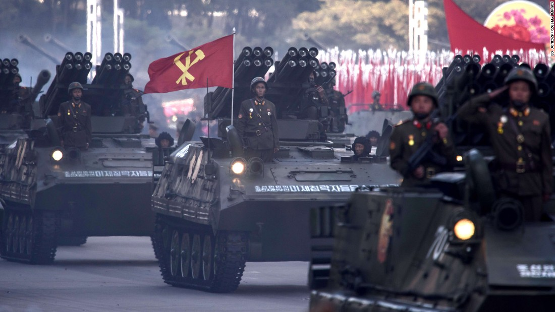 North Korean mobile rocket launchers are displayed during a mass military parade at Kim Il Sung square in Pyongyang on October 10, 2015.